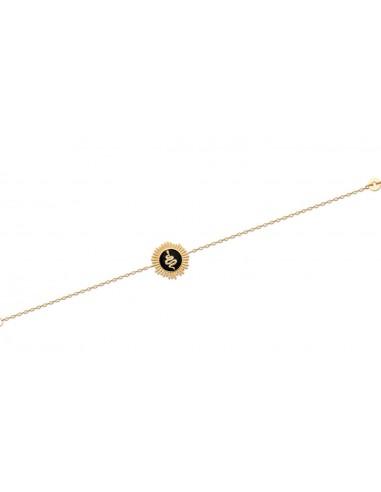Bracelet NAJA en Plaqué Or et Email Noir